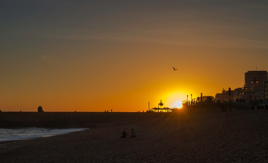 Sundown on Brighton Beach